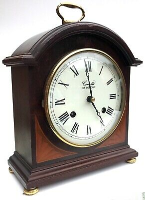 Comitti Of London Striking Mahogany Regency Break Arch Inlaid Mantel Clock