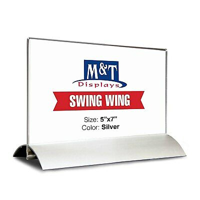 M&T Displays Acrylic Sign Holder for Table Tops Swing (5x7 Acrylic Insert)