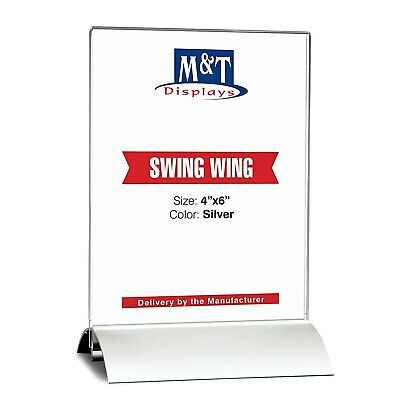 M&T Displays Acrylic Sign Holder for Table Tops Swing (4x6 Acrylic Insert)
