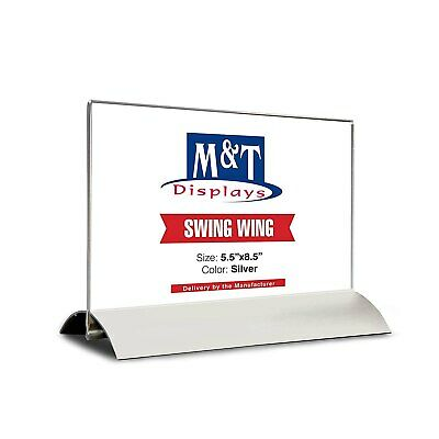 "Acrylic Sign Holder for Table Tops Swing Sign Holder (5.5""x8.5"" Acrylic Insert)"
