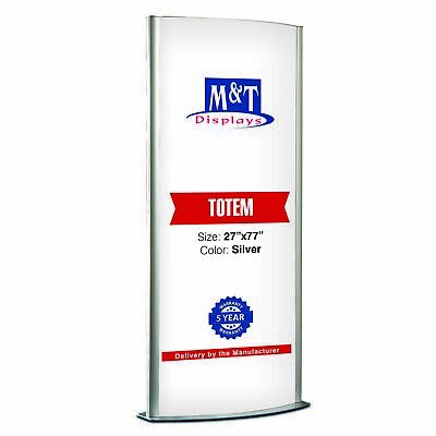 """Free Standing Light Up Stand, Double Sided, Advertising Display, 27X77"""", Silver"""