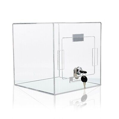 """8x8"""" Locking Acrylic Display Ballot Cube Security Case for Tabletop, Clear"""