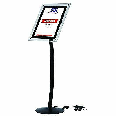 11x17 Curved LED Light Up Stand, Floor Clear Acrylic, Landscape/Portrait, Black