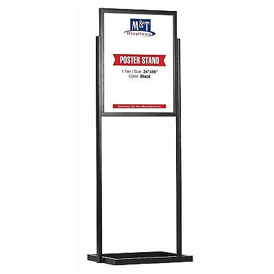 Floor Standing Double Sided Sign Holder Display, 24x36 Size, Black, 1 Tier