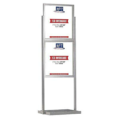 Metal Advertising Double Sided Free Standing Display, 22x28 Size, Silver, 2 Tier