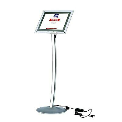 8.5x11 LED Light Up Curved Stand, Clear Acrylic, Landscape & Portrait, Silver