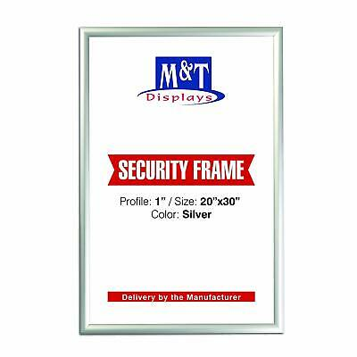 "M&T Displays Security Frames, 20'' X 30'' Poster Size, 1"" Silver Mitered Corner"