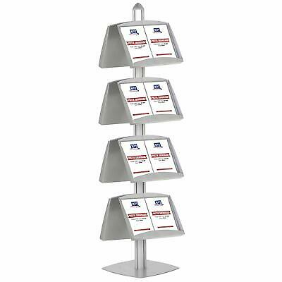 Literature Floor Stand, 8 Height Adjustable Steel Shelves, Double Sided (Silver)
