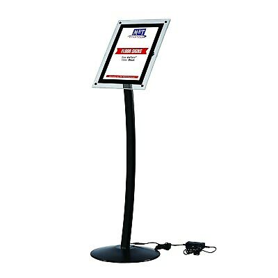 8.5x11 LED Light Up Curved Stand, Clear Acrylic, Landscape & Portrait, Black