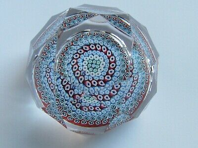 WHITEFRIARS FACETED MILLEFIORI PAPERWEIGHT MONKS CANE 1975 (Ref4379)