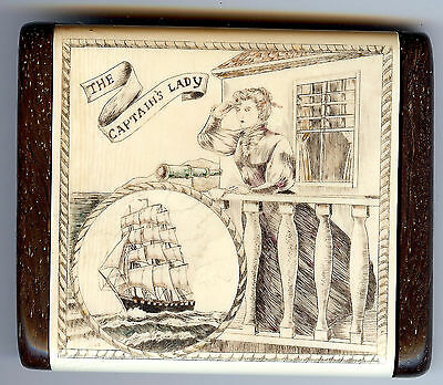 Vintage Engraved & Wood The Captain's Lady Sail Boat Nautical Mirror Compact
