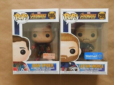 Funko Pop! Avengers Captain America Iron Spider Walmart Box Lunch exclusive lot