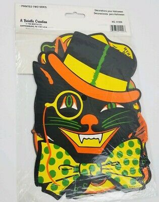 Vintage Beistle Creations Set of 4 Halloween Cutouts Sealed Cat Witch Pumpkin