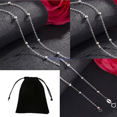 Solid 925 Sterling Silver Necklace Bead Ball & Trace Chain New Wholesale Prices