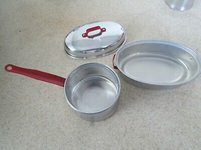 Strange Vintage Toy Kitchen Pots Pans Childrens Dutch Oven Red Handles 1950S Aluminum Home Interior And Landscaping Staixmapetitesourisinfo