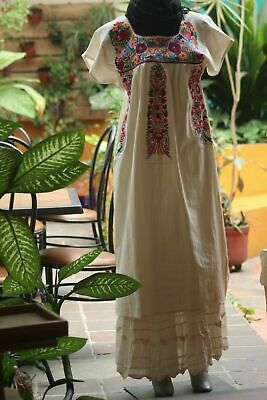 Chiapas Huipil Floral Dress Manta 100% Mexican Arts Hand Made Embroidered
