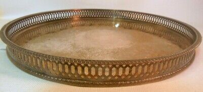 Vintage SHEFFIELD  England SILVER PLATE on Copper Round Gallery Tray Flowers