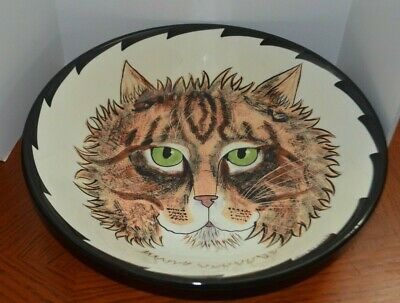 """12"""" Ceramic Serving Bowl Cats by Nina Lyman; Calico Cat with green Eyes"""