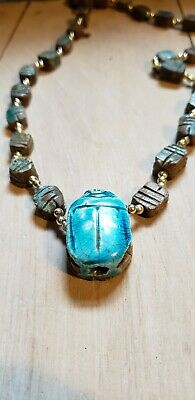 Egyptian Blue Scarab Necklace, Antique