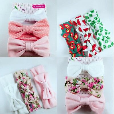 3pcs Newborn Headband Cotton Elastic Baby Floral Print Girls Bow-knot Hair Band