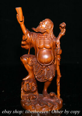 """8"""" Old Chinese Boxwood Carving Feng Shui Liu Hai read a book Toad Statue"""