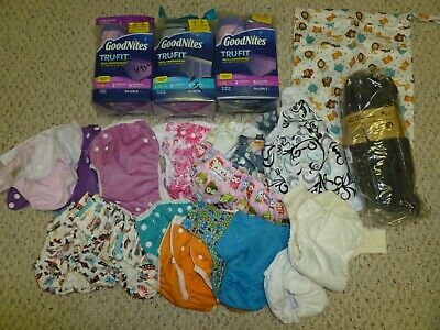 HUGE lot NEW &used cloth diapers diaper covers pocket inserts pullups goodnites