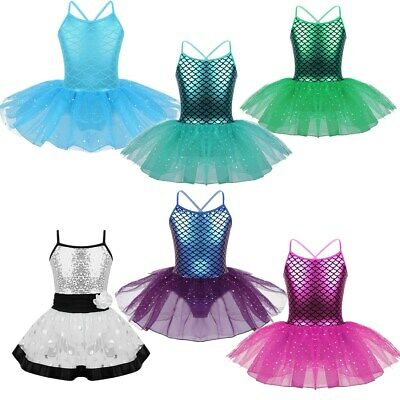 Girls Kids Mermaid Ballet Dance Costume Glitter Mesh Tutu Dresses Gymnastics