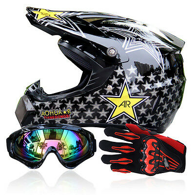 S-XL Adult ATV Dirt Bike Off-road Racing Motocross DOT Helmet+Goggles+Gloves BSP