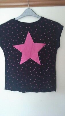 George Black Top With Pink Star Embellishment Age 11 To 12 Years