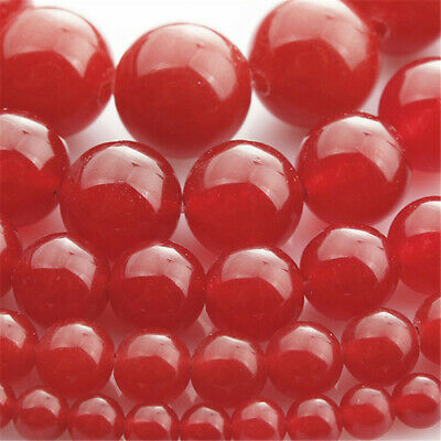 Natural Red Jade Round Loose Beads Diy Accessories Hole Gemstone Craft Opaque
