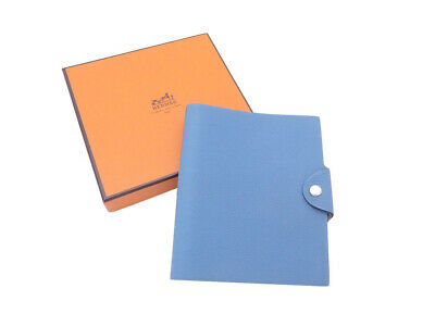 Auth HERMES Square K (2007) Ulysse Notebook Cover Blue Leather/Silver - e42061