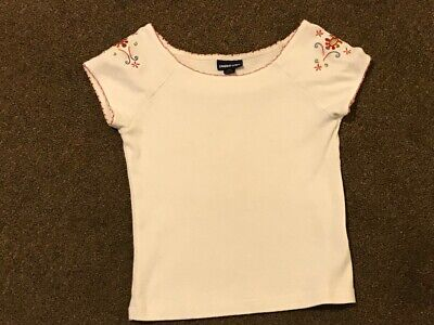 Girls Qtr Sleeve Top from Limited Too White w/Red embroidered trim Sz M/14