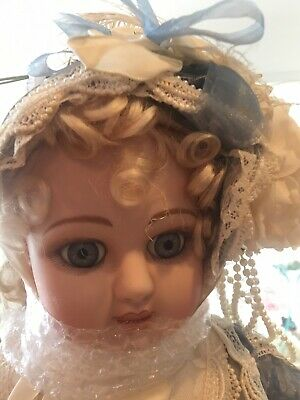 Heirloom Porcelain Antique Doll Very Large Fancy Outfit NWOT