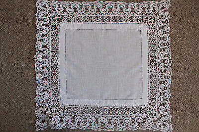 Vintage white linen square cloth with crochet edges and ladderwork.