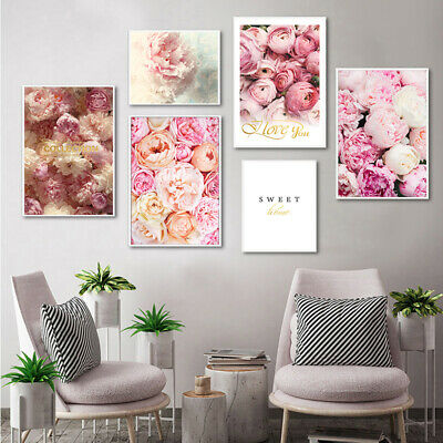 Canvas Painting Nordic Decor Elegant Peony Flower Poster And Print Wall Art