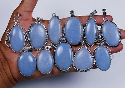 Wholesale Lot !! Natural Angelite Gemstone Silver Plated Pendant Jewelry.