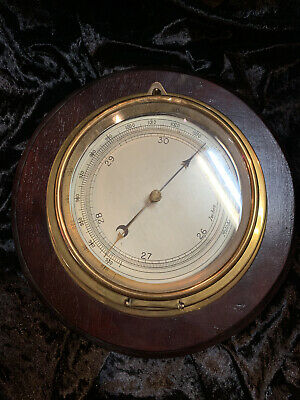 Brass barometric pressure gauge, circa 1930s, mahogany, glass, antique, vintage