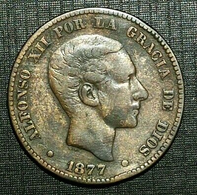 1877 OM SPAIN 3rd decimal coinage 10 Centimos - King Alfonso XII (48M)