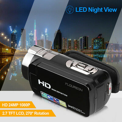 FLOUREON HD 1080P LCD Camcorder 16X Zoom Digital Video Camera CMOS Night Vision