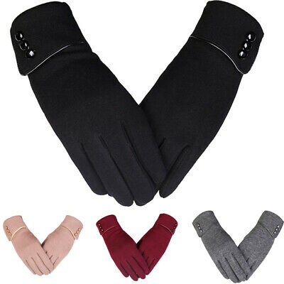 Women Elegant Winter Warm Fleece Lined Thermal Mittens Touch Screen Gloves Gift