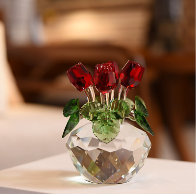 Crystal Cut Glass Flower Figurines Rose Living Room Valentine Gift Ornaments