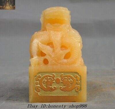Chinese 100% Natural Yellow jade Carved Dragon Loong Seal Stamp Signet Statue
