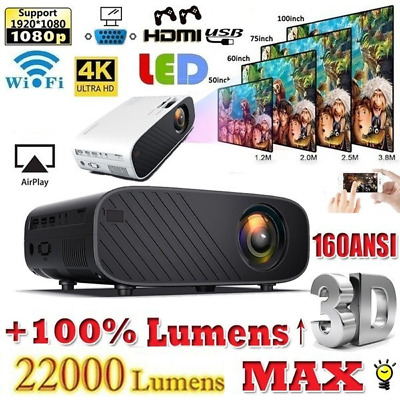 1080P HD WiFi 3D LED Mini Video Theatre Projector Home Cinema 18000 Lumens HDMI