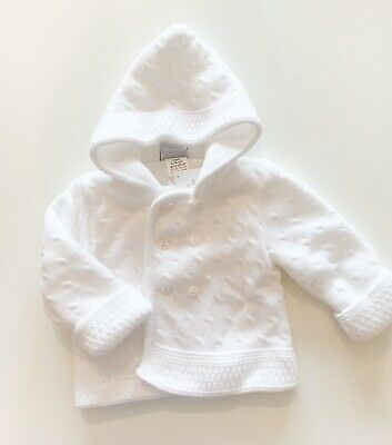 Dandelion Traditional White Knitted Hooded Jacket Size 3-6 6-12 Months Unisex