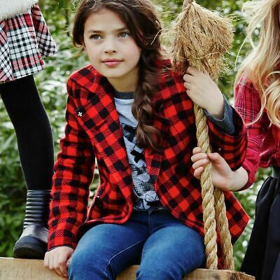 Girls Cherokee Red Check Coat Quilted Lining 7-8 9-10 Yrs