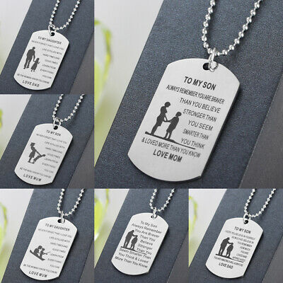 DAD MOM TO My Daughter Son Gift Dog Tag Pendant Necklace