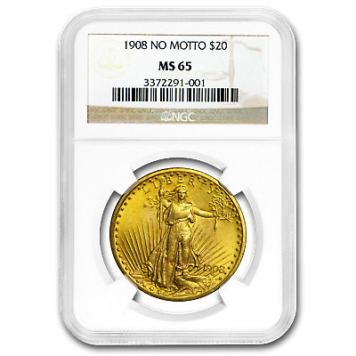 1908 $20 Saint-Gaudens Gold Double Eagle No Motto MS-65 NGC - SKU#15543