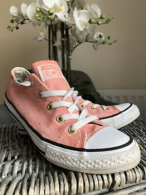 Pink Converse With Gold Stars Trainers Girls Shoes Size UK 2.5 EUR 35