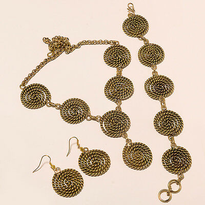New Offer 925 Tibetan Silver Vintage Solid Brass Necklace Earring Set