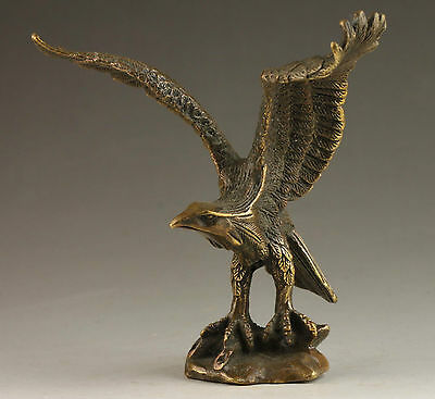 Superb Chinese Collectable Handmade Old Carving Vivid Bronze Statue Eagle